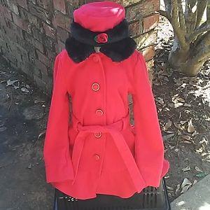 Red, black jacket & red, white dress, size 6 child